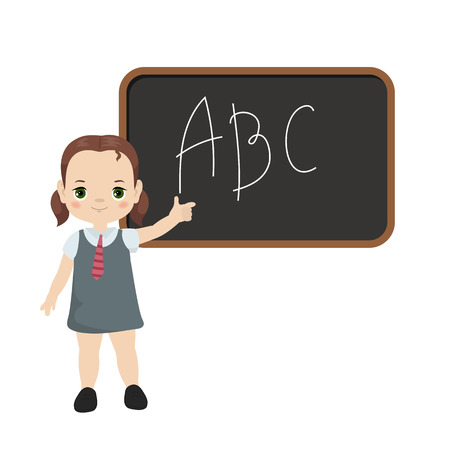 Back to school theme with girl and board illustration