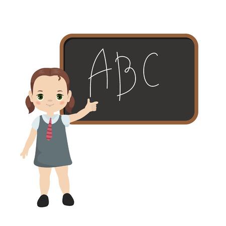Tema de regreso a la escuela con ilustración de niña y tablero