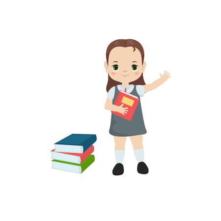 Bücherkonzept lesen. Mädchen, das ein Buch hält Vektorgrafik