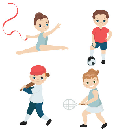 Kids playing various sports. Cartoon style illustration isolated on white background.