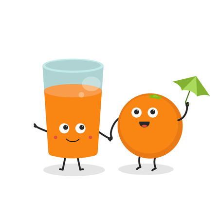 Best friends forever. Cute cartoon smiling orange with glass of juice. Иллюстрация