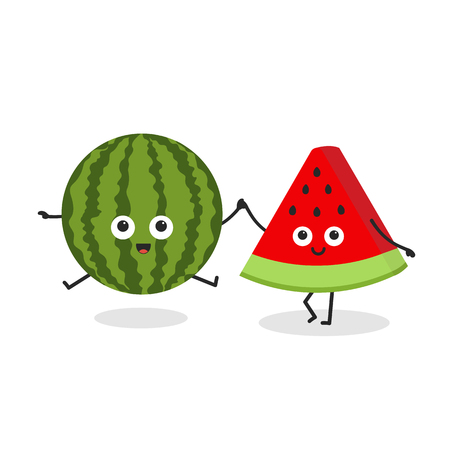 Best friends forever. Cute cartoon smiling watermelon and piece of watermelon