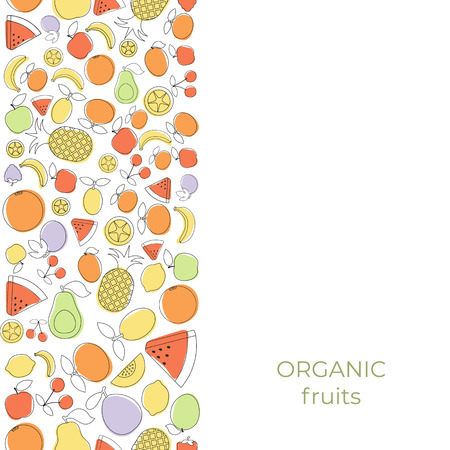 Background with cartoon fruit icons. Design card. Illustration
