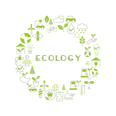 Background with ecology icons. Recycling ecological design concept. Ilustrace