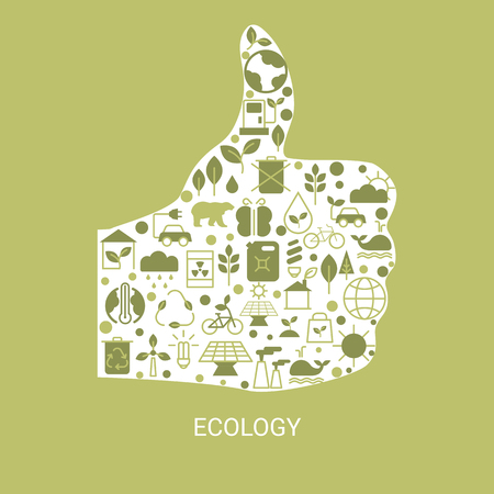Background with ecology icons. Recycling ecological design concept. Vetores
