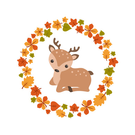 Vector autumn background with cute deer. Postcard Hello Autumn.
