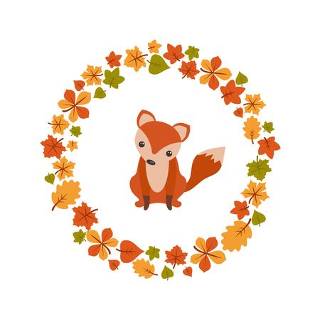 Vector autumn background with cute fox. Postcard Hello Autumn. Illustration