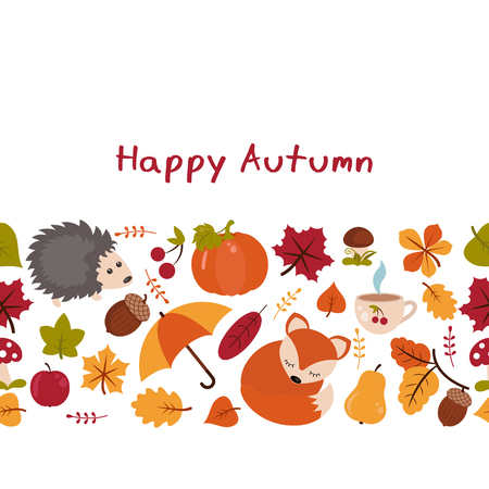 Vector background with autumn elements. Happy autumn and harvest.