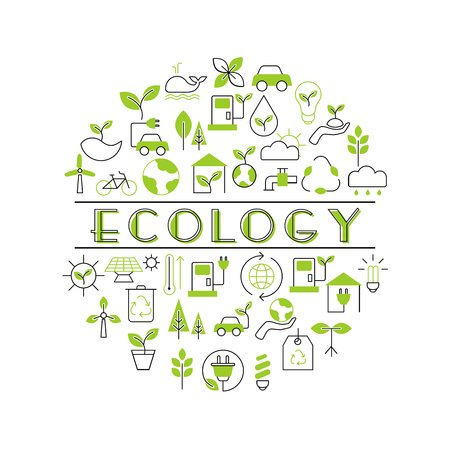 Background with ecology icons. Recycling ecological design concept. Illustration
