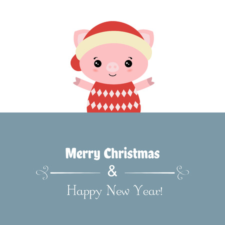 Merry Christmas card with pig. Vector illustration.