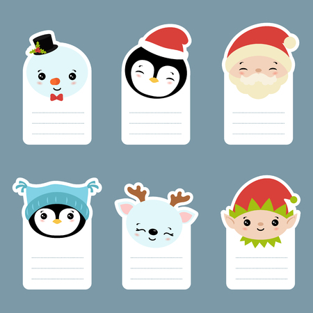 Collection of cards with cute cartoon characters head. Christmas theme.  イラスト・ベクター素材