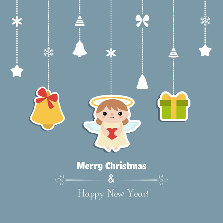 Merry Christmas greeting card with angel. Vector illustration  イラスト・ベクター素材
