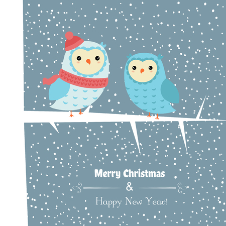 Christmas and new year greeting card with owl.