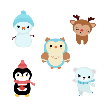 Set of cute cartoon characters. Christmas theme.