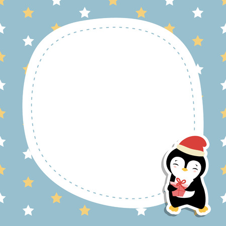 Christmas and new year greeting card with penguin and space for your text.