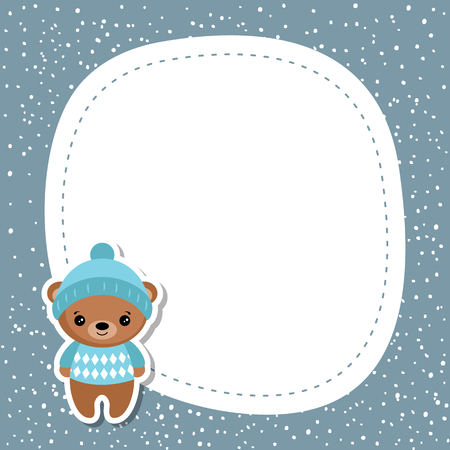 Christmas and new year greeting card with bear and space for your text.