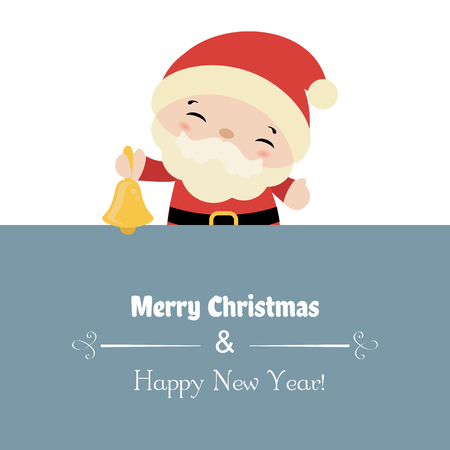 Merry Christmas card with Santa Claus. Vector illustration.  イラスト・ベクター素材