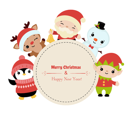 Merry Christmas greeting card with Santa Claus and christmas cartoon characters. Vector illustration.