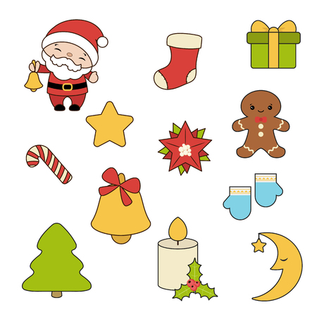 Set of Christmas new year holiday decoration icons.