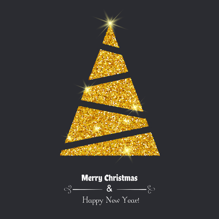 Merry Christmas greeting card. Christmas tree with glitter.  イラスト・ベクター素材