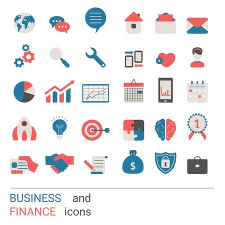 Icone di affari di raccolta. Elementi aziendali da utilizzare nel web, applicazioni per smartphone ets. Design piatto alla moda.