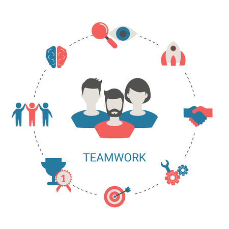 Concept of creative teamwork with people icon. Infographic teamwork and brainstorming.  イラスト・ベクター素材
