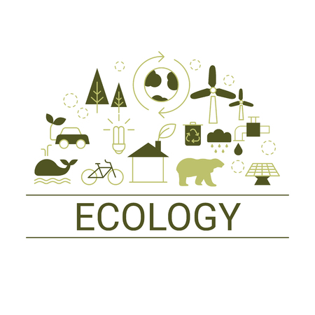 Ecology concept. White background with ecology icons. Illustration
