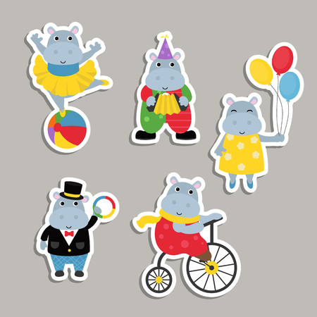 Circus theme. Set of circus hippos with different actions. Ilustração