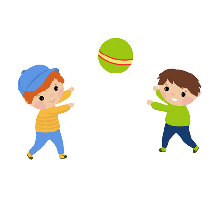 Niños jugando con una ilustración de vector de pelota. Fondo blanco. Ilustración de vector