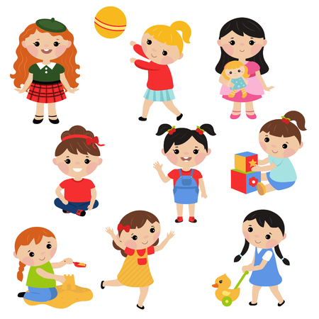 Little girls playing with toys. White background. Stock Illustratie