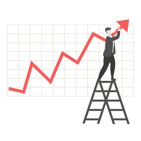 Stock market concept with businessman. Trendy flat design.