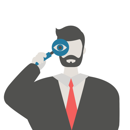 Businessman with a magnifying glass. market research concept. Trendy flat design.