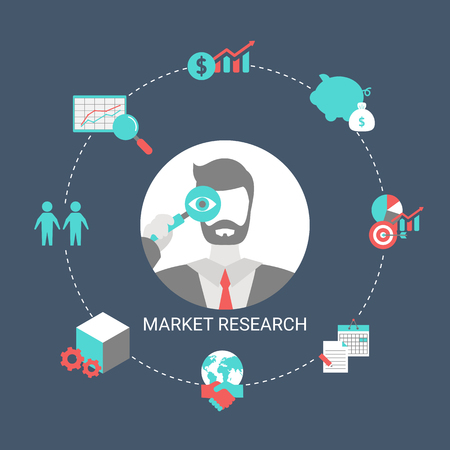 Market research concept with financial icons. Trendy flat design. Foto de archivo - 125341421