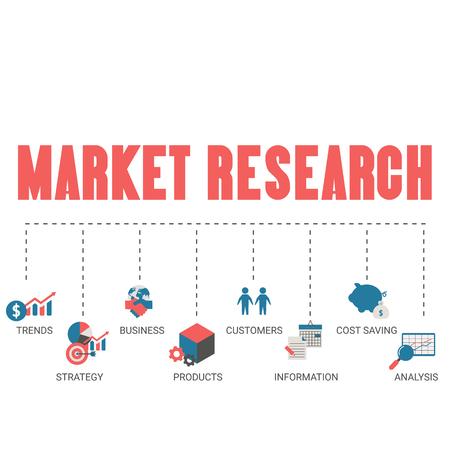 Market research concept with financial icons. Trendy flat design. Foto de archivo - 125341422