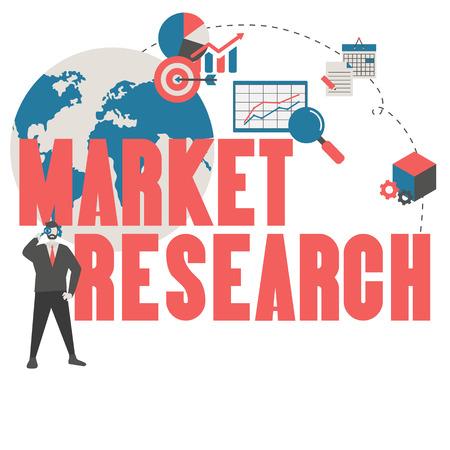 Market research concept with financial icons. Trendy flat design. Foto de archivo - 125341423