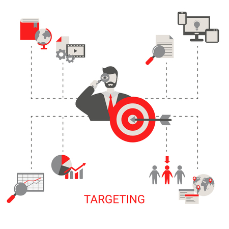 Business target concept. Hit the target, goal achievement. Trendy flat design.