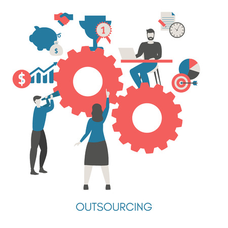 Business and outsourcing concept. Isolated vector illustration. Trendy flat design.