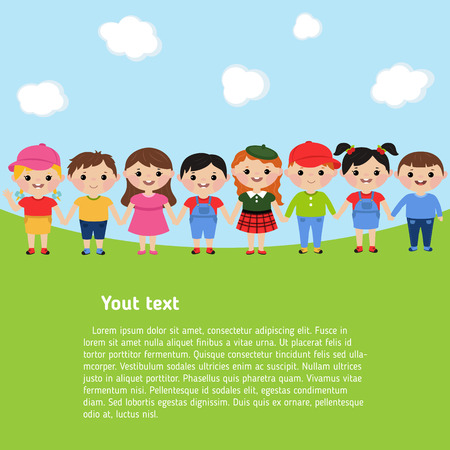 Boys and girls are playing together. Template for brochure with place for text. Cartoon style illustration.