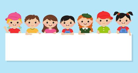 Multicultural kids holding blank banner. Happy children vector illustration.