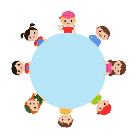 Cute little kids show a blank poster for your text entry. Vector illustration