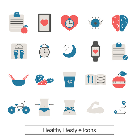 Healthy lifestyle and and health care icon set. Trendy flat design.