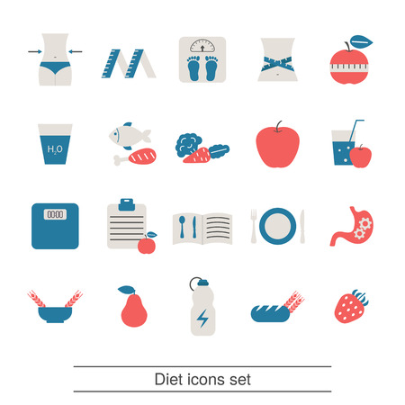 Diet and Losing weight icon set. Trendy flat design.