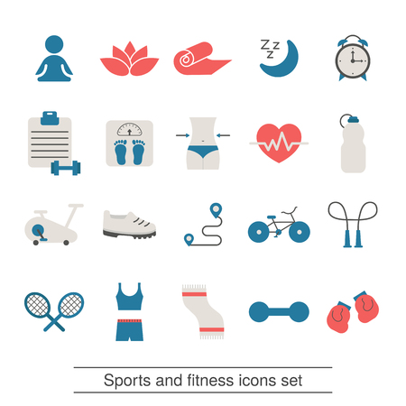 Fitness and sport icons collection. Trendy flat design. Иллюстрация