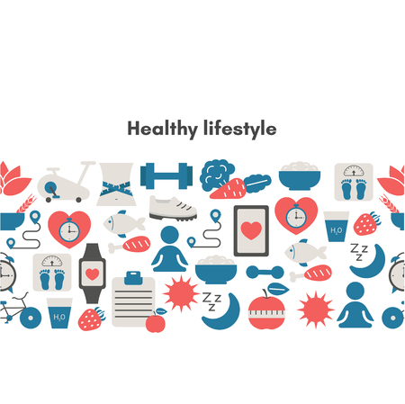 Healthy Lifestyle Background with sport and diet icons. Trendy flat design. Stock Vector - 124569450