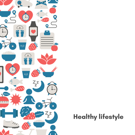 Healthy Lifestyle Background with sport and diet icons. Trendy flat design. Illustration