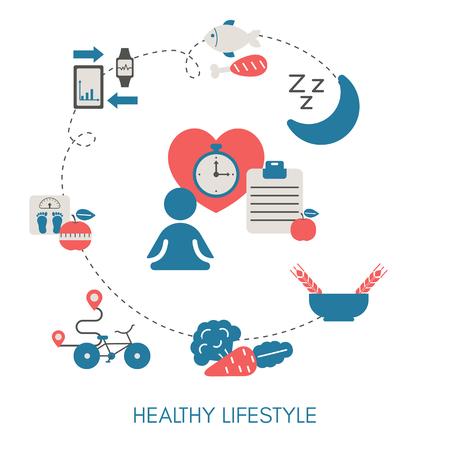 Healthy Lifestyle concept with sport and diet icons. Trendy flat design. Ilustração