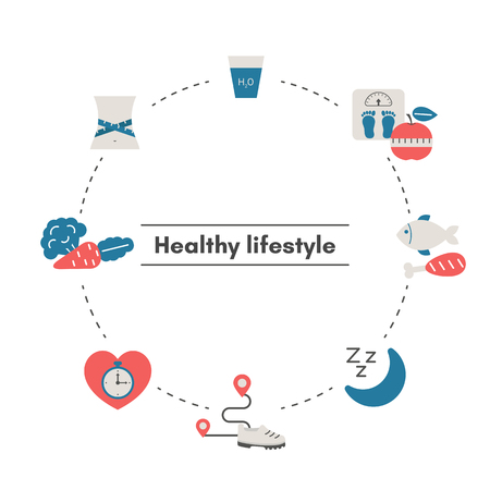 Healthy Lifestyle concept with sport and diet icons. Trendy flat design. Illustration
