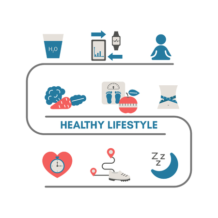 Healthy lifestyle vector infographic with sport and diet icons. Trendy flat design.