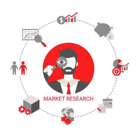 Market research concept with business icons. Trendy flat design.