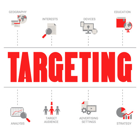 Target customers concept with business icons. Trendy flat design.